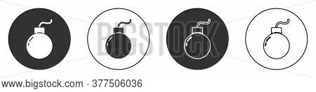 Black Bomb Ready To Explode Icon Isolated On White Background. Circle Button. Vector Illustration
