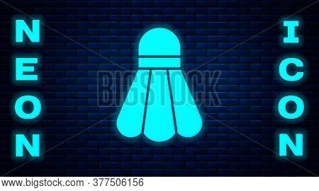 Glowing Neon Badminton Shuttlecock Icon Isolated On Brick Wall Background. Sport Equipment. Vector I