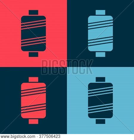 Pop Art Sewing Thread On Spool Icon Isolated On Color Background. Yarn Spool. Thread Bobbin. Vector