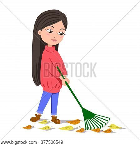 The Girl Removes Autumn Leaves With A Green Rake. A Brunette In A Red Sweater. Autumn Greetings Of T