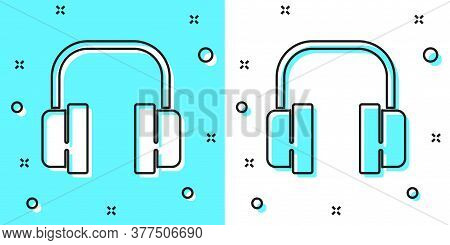 Black Line Headphones Icon Isolated On Green And White Background. Support Customer Service, Hotline