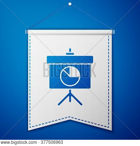 Blue Presentation Board With Graph, Schedule, Chart, Diagram, Infographic, Pie Graph Icon Isolated O