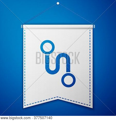 Blue Route Location Icon Isolated On Blue Background. Map Pointer Sign. Concept Of Path Or Road. Gps