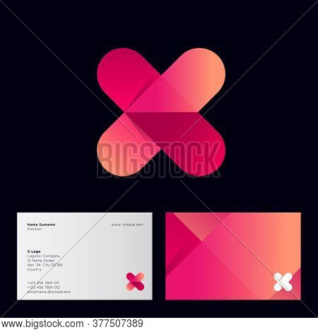 Gradient X Monogram. Letter X With Arrow Logo, Isolated On A Black Background. Business Card. Logo C