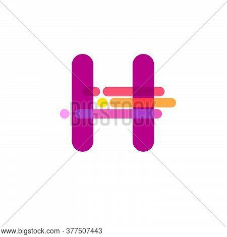 Digital  Logo. H Letter. H Monogram Consist Of Some Rounded Transparent Elements. Colorful Monogram
