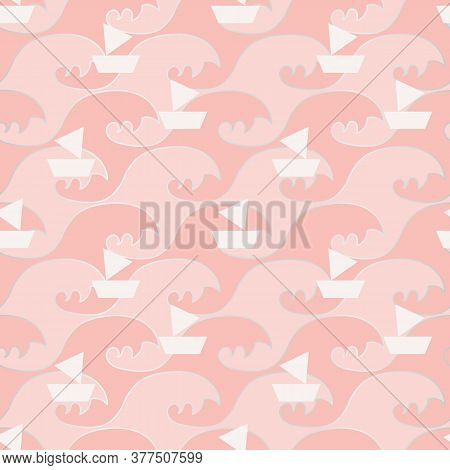 White Sailboats Regatta On Pink Ocean Seamless Vector Pattern. Decorative Recreation Themed Surface