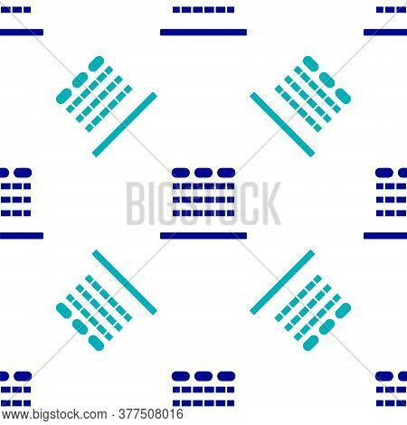 Blue Cinema Auditorium With Screen And Seats Icon Isolated Seamless Pattern On White Background. Vec