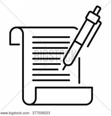 Storyteller Writing Paper Icon. Outline Storyteller Writing Paper Vector Icon For Web Design Isolate