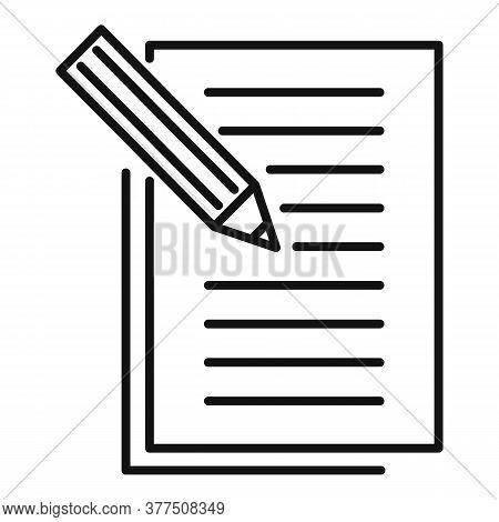 Storyteller Pencil Paper Icon. Outline Storyteller Pencil Paper Vector Icon For Web Design Isolated