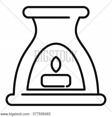 Ayurveda Burning Candle Icon. Outline Ayurveda Burning Candle Vector Icon For Web Design Isolated On