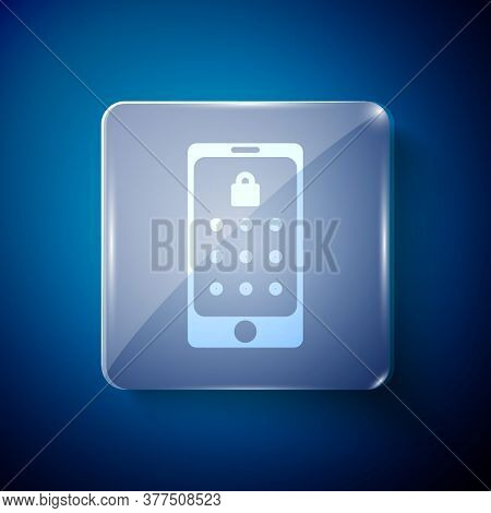 White Mobile Phone And Graphic Password Protection Icon Isolated On Blue Background. Security, Perso