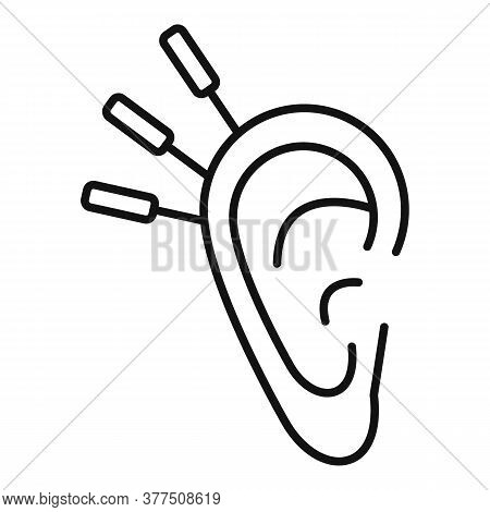 Ear Acupuncture Icon. Outline Ear Acupuncture Vector Icon For Web Design Isolated On White Backgroun