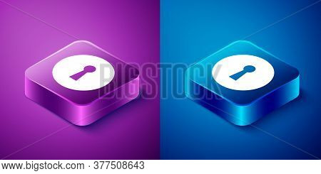 Isometric Keyhole Icon Isolated On Blue And Purple Background. Key Of Success Solution. Keyhole Expr