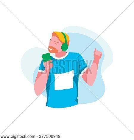 Young Man Listening Music With Headphones. Joyful Bearded Guy Wearing Fashionable Clothes Listen To