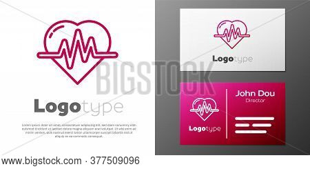 Logotype Line Heart Rate Icon Isolated On White Background. Heartbeat Sign. Heart Pulse Icon. Cardio