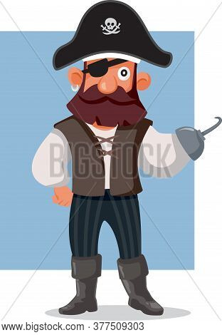 Funny Pirate Vector Cartoon Illustration Mascot Character