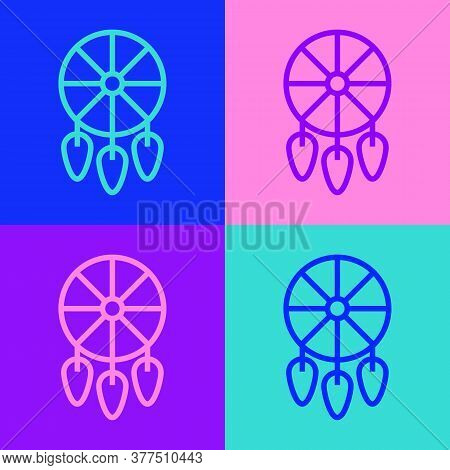 Pop Art Line Dream Catcher With Feathers Icon Isolated On Color Background. Vector Illustration