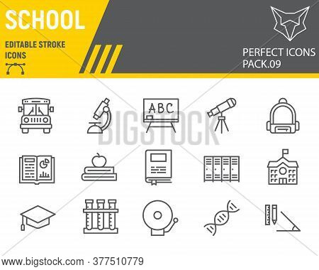 School Line Icon Set, Education Symbols Collection, Vector Sketches, Logo Illustrations, Back To Sch