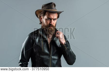 Western Man In Leather Jacket. Mature Bearded Man. Confidence And Charisma. Handsome Man Wear Cowboy