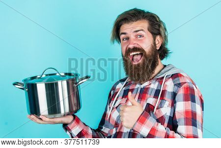 Thumb Up. Professional Cook. Bearded Man Hold Kitchen Pan. Brutal Hipster Cooking With Saucepan. Hou