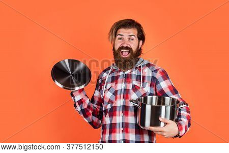 Having Great Time. Brutal Hipster Cooking With Saucepan. Housekeep Husband Cook In Pot. Mature Chef