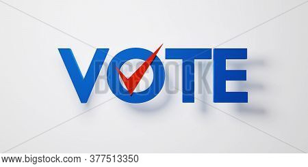 Blue Text Vote With Red Check Correct Sign Isolated On White Background, 3d Rendering. Us Presidenti