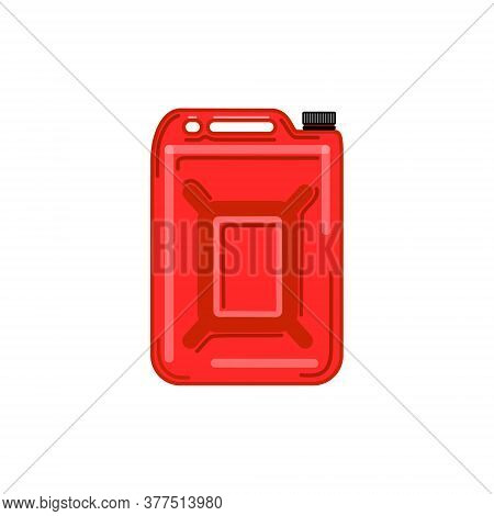 Vector Red Metal Fuel Tank Or Jerry Can For Transporting And Storing Gasoline On White Background. I