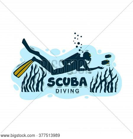 Logo For Scuba Diving On An Isolated Background. Vector Logo Or Icon For A Diving Center.