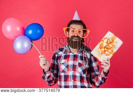 Thank You. Happy Man With Beard. Man In Party Glasses Hold Balloons. Holiday Celebration. Happy Birt