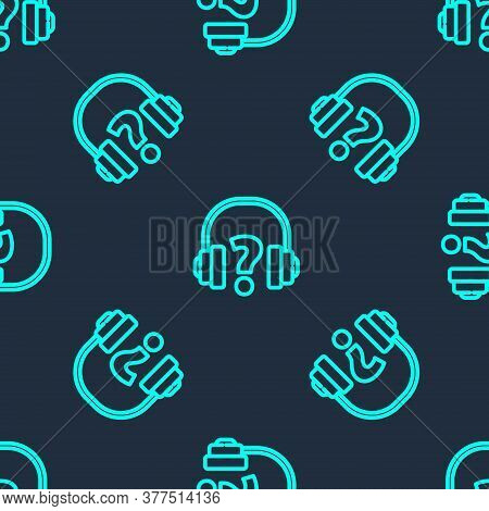 Green Line Headphones Icon Isolated Seamless Pattern On Blue Background. Support Customer Service, H