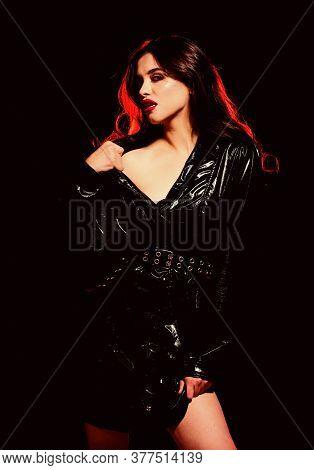 Desire Concept. Impeccable Appearance. Mysterious Passionate Fashion Model In Leather Cloak. Feminin