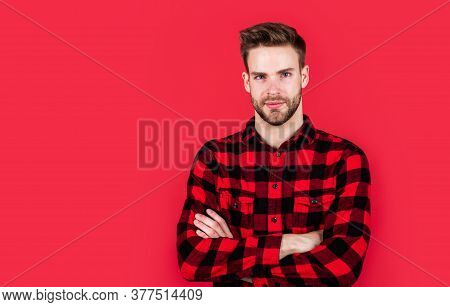 Handsome Cowboy. Unshaven Guy In Casual Style. Male Hairdresser And Barbershop. Male Beauty Trend. B