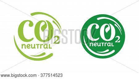 Co2 Neutral Stamp - Carbon Emissions Free (no Air Atmosphere Pollution) Industrial Production Eco-fr