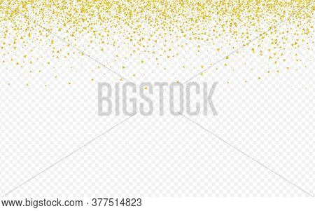 Golden Confetti Transparent Transparent Background. Shiny Shine Banner. Gold Shards Light Card. Shar