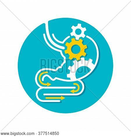 Digestive System (or Laxative) Icon - Human Stomach Associated With Gear Box Mechanicm - For Gastro