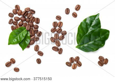 Coffee Beans With Leaves Isolated On White Background. Roasted Arabica. Top View