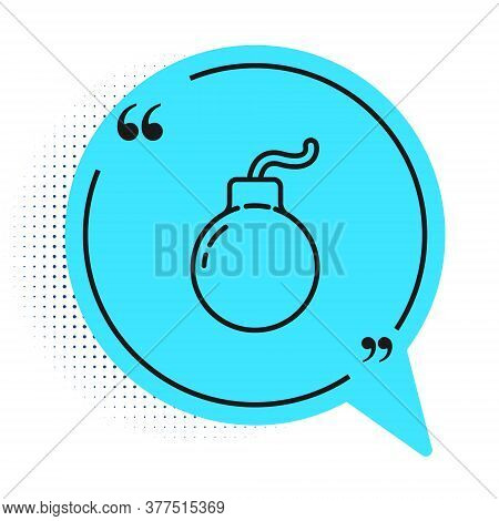 Black Line Bomb Ready To Explode Icon Isolated On White Background. Blue Speech Bubble Symbol. Vecto