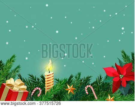 Christmas Border With Fir Branches, Sweet Cane, Candle And Stars. Christmas Card With Place For Your