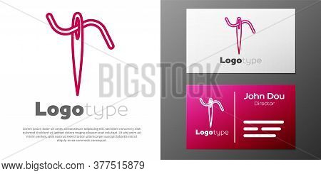 Logotype Line Needle For Sewing With Thread Icon Isolated On White Background. Tailor Symbol. Textil