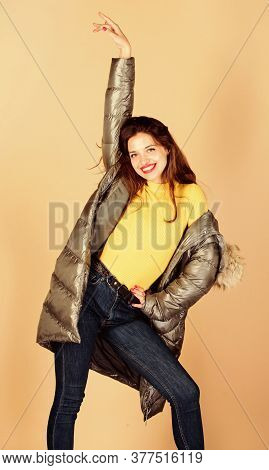 Playful Fashionista. Winter Outfit. Pretty Girl Wear Fashion Outfit For Cold Weather. Black Friday.