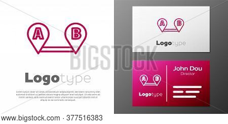 Logotype Line Route Location Icon Isolated On White Background. Map Pointer Sign. Concept Of Path Or