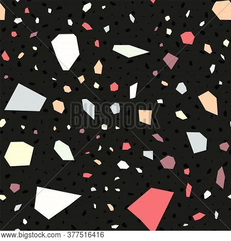 Black And Red Terrazzo Wall Vector Seamless Pattern. Mosaic Terrazzo Tile Banner. Blue And White Con