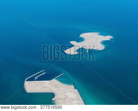 Aerial View Of Artificial Embankment Islands In Persian Gulf , Qatar