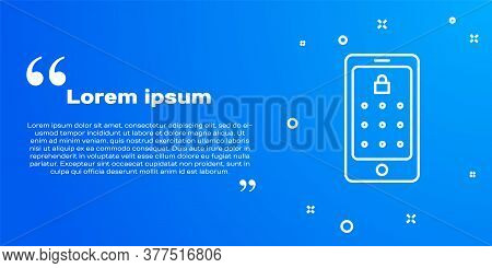 White Line Mobile Phone And Graphic Password Protection Icon Isolated On Blue Background. Security,