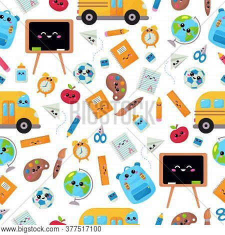 Childish Seamless Pattern With Education Supplies. Back To School. Vector Kawaii Cartoon Character -