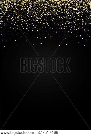 Golden Shards Festive Black Background. Holiday Triangle Pattern. Gold Dust Modern Card. Sequin Tran