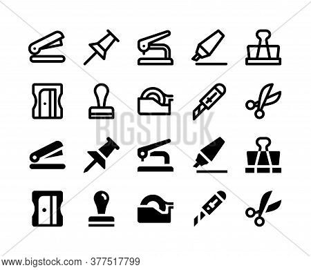 Simple Set Of Stationery Vector Glyph And Line Icons Including Stapler, Pushpin, Hole Puncher, Highl