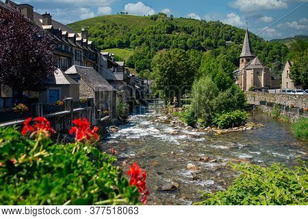 Torrent In The Village Of Arreau. Pyrenes Mountains. A South Of France