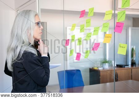 Confident Concentrated Businesswoman Looking At Stickers On Glass Wall. Focused Grey-haired Female W