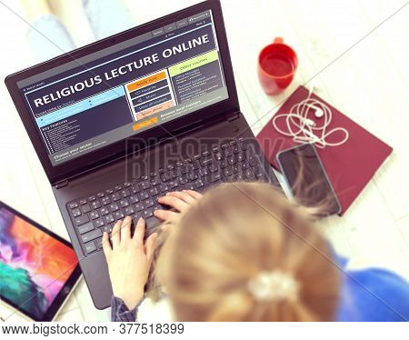 Religious Lecture Online. Blurred Female Holding Ultrabook With Open Educational Website. Post-secon